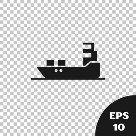 Black Oil tanker ship icon isolated on transparent background. Vector Illustration
