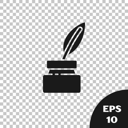 Black Feather and inkwell icon isolated on transparent background. Vector Illustration