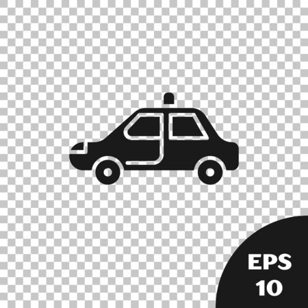 Black Police car and police flasher icon isolated on transparent background. Emergency flashing siren. Vector Illustration