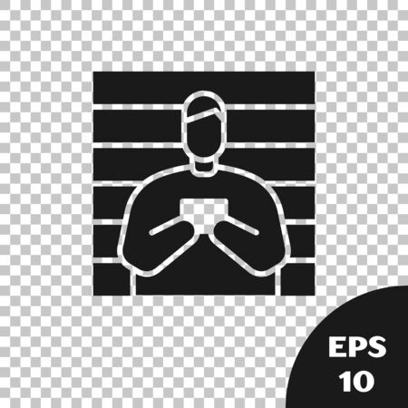 Black Suspect criminal icon isolated on transparent background. The criminal in prison, suspected near the board. Vector Illustration