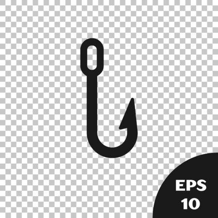 Black Fishing hook icon isolated on transparent background. Fishing tackle. Vector Illustration Illusztráció