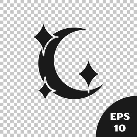 Black Moon and stars icon isolated on transparent background. Vector Illustration