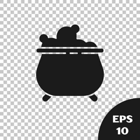 Black Witch cauldron icon isolated on transparent background. Happy Halloween party. Vector Illustration