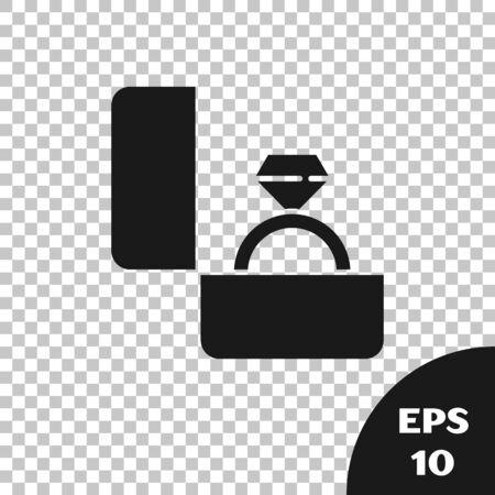 Black Diamond engagement ring icon isolated on transparent background. Vector Illustration