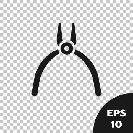 Black Pliers tool icon isolated on transparent background. Pliers work industry mechanical plumbing tool. Vector Illustration Vettoriali