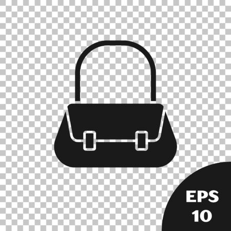 Black Handbag icon isolated on transparent background. Female handbag sign. Glamour casual baggage symbol. Vector Illustration