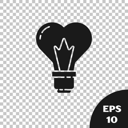 Black Heart shape in a light bulb icon isolated on transparent background. Love symbol. 8 March. International Happy Women Day. Vector Illustration
