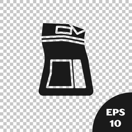 Black Cement bag icon isolated on transparent background. Vector Illustration Ilustração