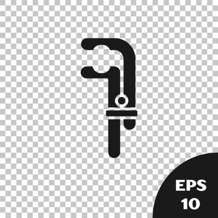 Black Clamp tool icon isolated on transparent background. Locksmith tool. Vector Illustration