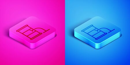 Isometric line Barrel oil leak icon isolated on pink and blue background. Square button. Vector Illustration