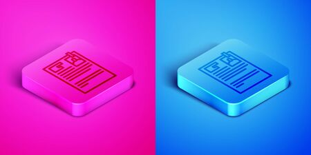 Isometric line Lawsuit paper icon isolated on pink and blue background. Square button. Vector Illustration Stockfoto - 142152529