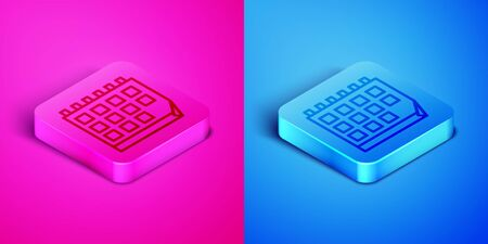 Isometric line Calendar icon isolated on pink and blue background. Event reminder symbol. Square button. Vector Illustration