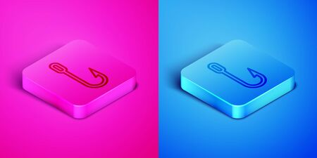 Isometric line Fishing hook icon isolated on pink and blue background. Fishing tackle. Square button. Vector Illustration