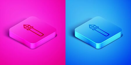 Isometric line Magic staff icon isolated on pink and blue background. Magic wand, scepter, stick, rod. Square button. Vector Illustration Ilustrace