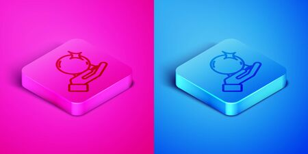 Isometric line Magic ball on hand icon isolated on pink and blue background. Crystal ball. Square button. Vector Illustration