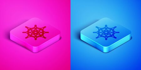 Isometric line Spider web icon isolated on pink and blue background. Cobweb sign. Happy Halloween party. Square button. Vector Illustration Ilustração