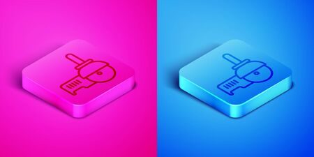 Isometric line Angle grinder icon isolated on pink and blue background. Square button. Vector Illustration