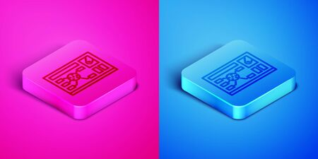 Isometric line Futuristic hud interface icon isolated on pink and blue background. Hologram ui infographic, interactive globe and cyber sky fi screen. Square button. Vector Illustration Vectores