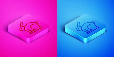 Isometric line Easter rabbit icon isolated on pink and blue background. Easter Bunny. Square button. Vector Illustration
