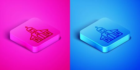 Isometric line Church building icon isolated on pink and blue background. Christian Church. Religion of church. Square button. Vector Illustration