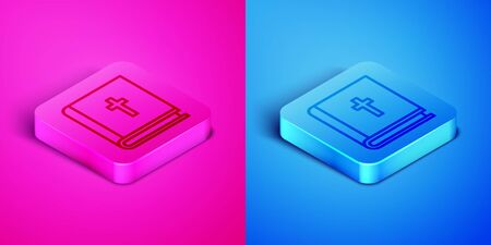 Isometric line Holy bible book icon isolated on pink and blue background. Square button. Vector Illustration