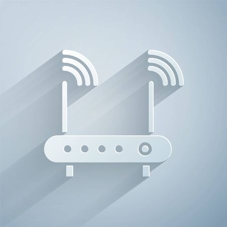 Paper cut Router and wifi signal symbol icon isolated on grey background. Wireless modem router. Computer technology internet. Paper art style. Vector Illustration Illustration