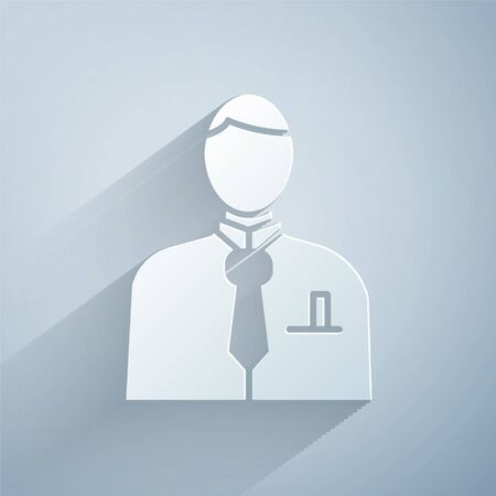 Paper cut Businessman or stock market trader icon isolated on grey background. Paper art style. Vector Illustration