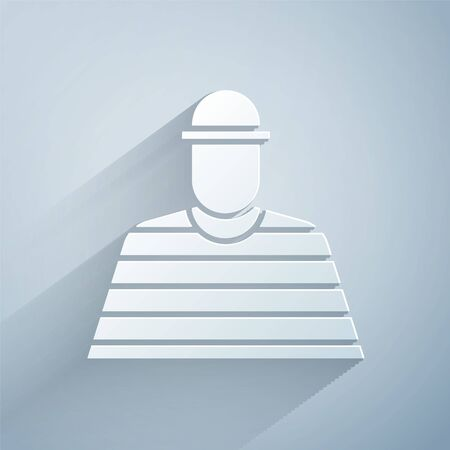 Paper cut Prisoner icon isolated on grey background. Paper art style. Vector Illustration Illustration