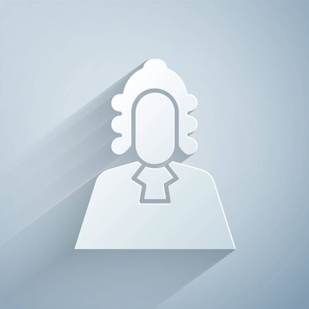 Paper cut Judge icon isolated on grey background. Paper art style. Vector Illustration