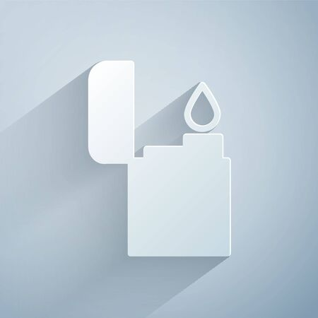 Paper cut Lighter icon isolated on grey background. Paper art style. Vector Illustration