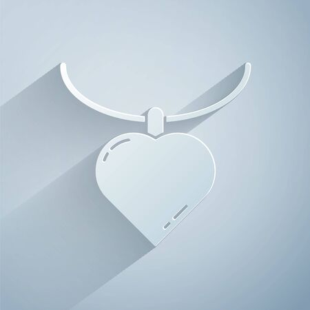Paper cut Necklace with heart shaped pendant icon isolated on grey background. Jewellery decoration. International Happy Women Day. Paper art style. Vector Illustration