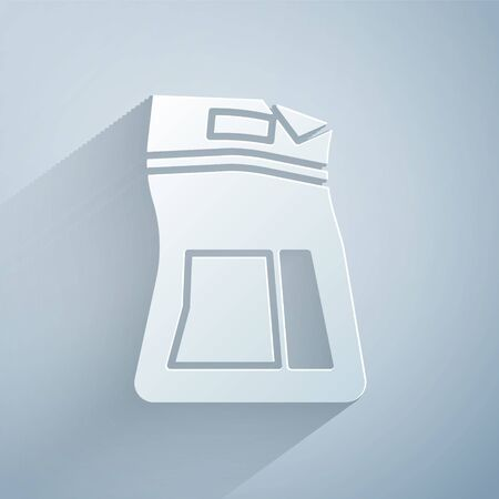 Paper cut Cement bag icon isolated on grey background. Paper art style. Vector Illustration