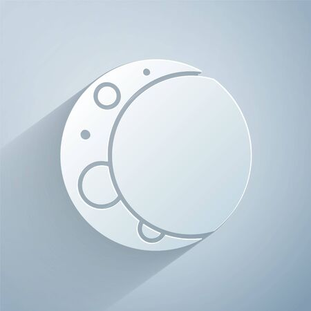 Paper cut Moon icon isolated on grey background. Paper art style. Vector Illustration