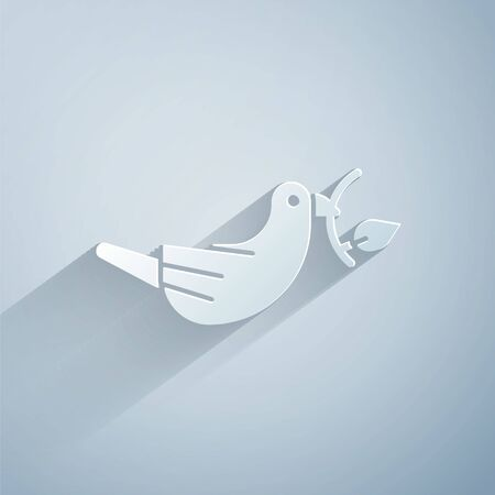 Paper cut Peace dove with olive branch icon isolated on grey background. Happy Easter. Paper art style. Vector Illustration