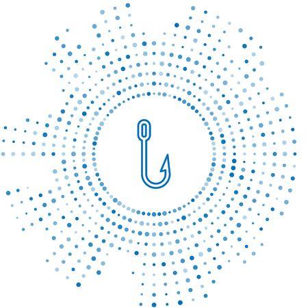 Blue line Fishing hook icon isolated on white background. Fishing tackle. Abstract circle random dots. Vector Illustration Illusztráció