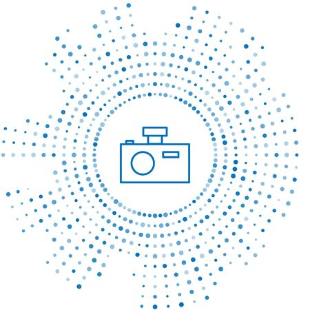 Blue line Photo camera icon isolated on white background. Foto camera icon. Abstract circle random dots. Vector Illustration