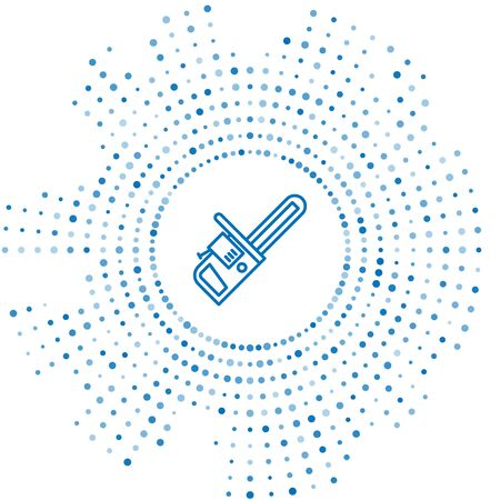 Blue line Chainsaw icon isolated on white background. Abstract circle random dots. Vector Illustration