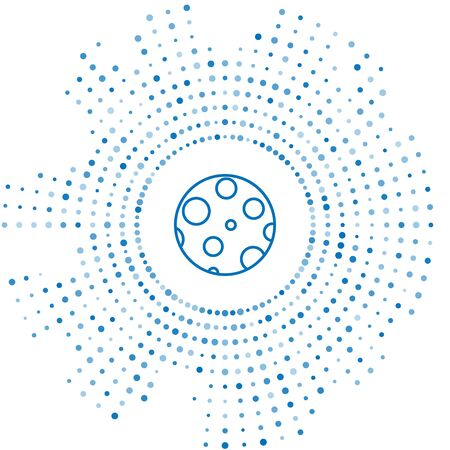 Blue line Moon icon isolated on white background. Abstract circle random dots. Vector Illustration