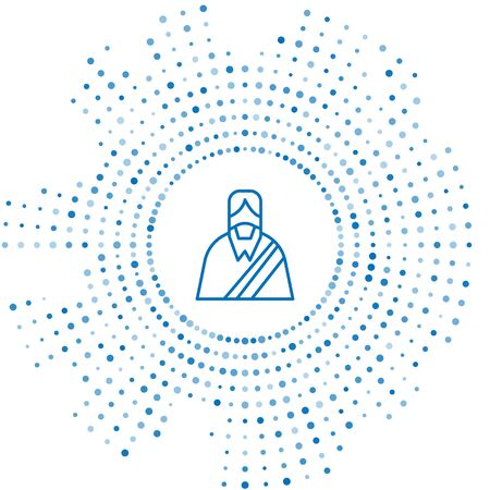 Blue line Jesus Christ icon isolated on white background. Abstract circle random dots. Vector Illustration Illustration