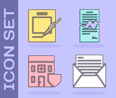 Set Mail and e-mail, Blank notebook and pen, Medical hospital building with shield and Torn contract icon. Vector