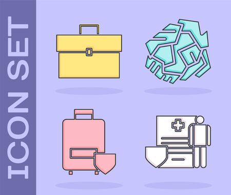Set Medical clipboard with clinical record, Briefcase, Traveling baggage insurance and Crumpled paper ball icon. Vector Stock Illustratie