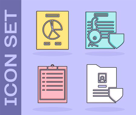 Set Document with shield, Document with graph chart, Clipboard with checklist and Document with key with shield icon. Vector