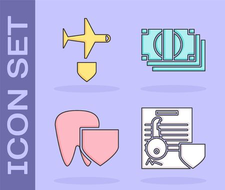 Set Document with key with shield, Plane with shield, Tooth with shield and Stacks paper money cash icon. Vector Illustration