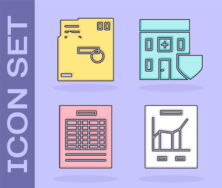 Set Document with graph chart, Ordered envelope, Report file document and Medical hospital building with shield icon. Vector