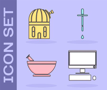 Set Computer monitor with keyboard and mouse, Astronomical observatory, Mortar and pestle and Pipette icon. Vector