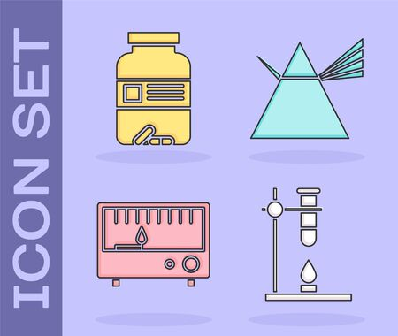 Set Glass test tube flask on fire heater, Medicine bottle and pills, Electrical measuring instruments and Light rays in prism icon. Vector