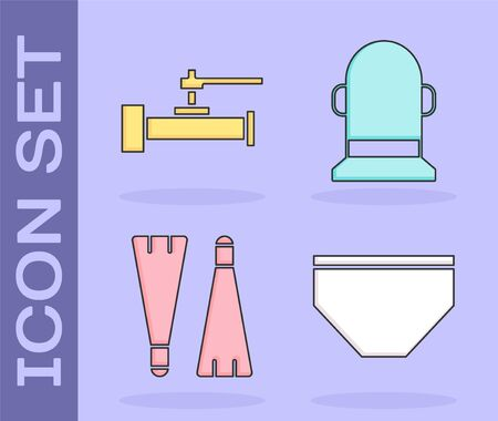 Set Swimming trunks, Industry metallic pipes and valve, Rubber flippers for swimming and Buoy icon. Vector Illustration