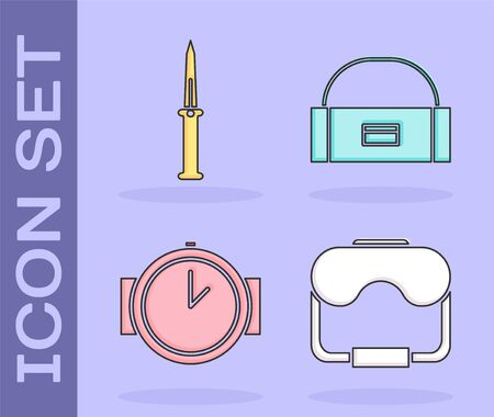 Set Diving mask, Army knife, Diving watch and Case or box container for wobbler icon. Vector