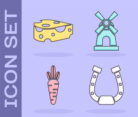 Set Horseshoe, Cheese, Carrot and Windmill icon. Vector