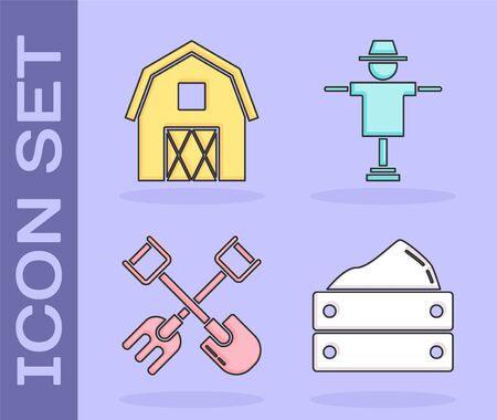 Set Wooden box with harvest, Farm House concept, Shovel and rake and Scarecrow icon. Vector